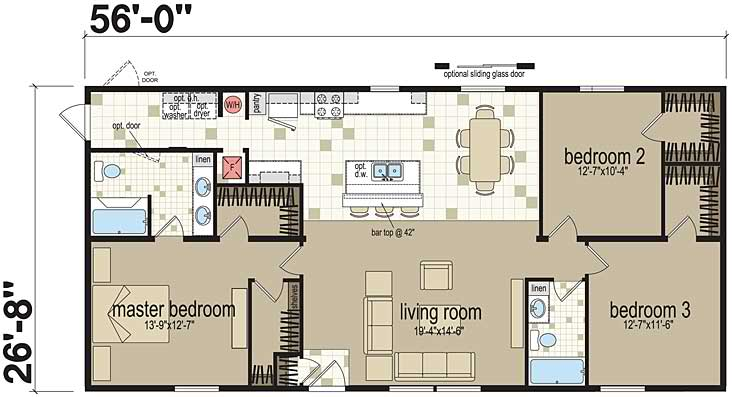 Examples of three bedroom modular home floor plans for Standard 3 bedroom house plans