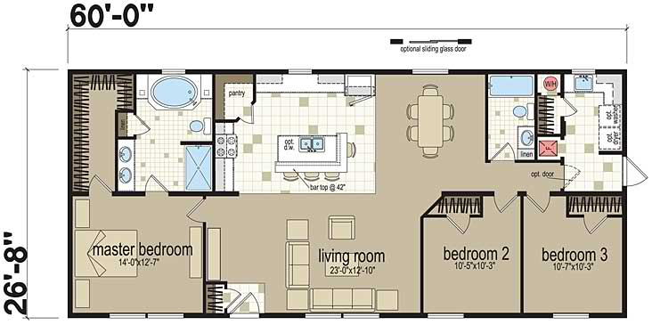 Examples of three bedroom modular home floor plans for Standard house plans