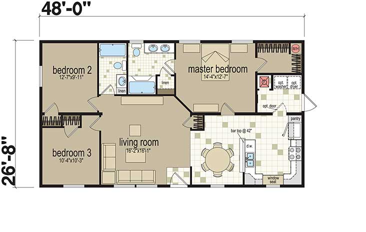 Examples of three bedroom modular home floor plans for Standard homes plans